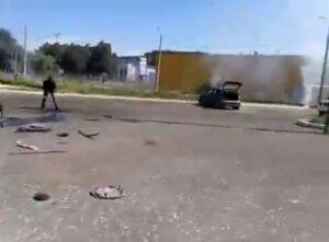 Последствия артобстрела района ж/д в Донецке